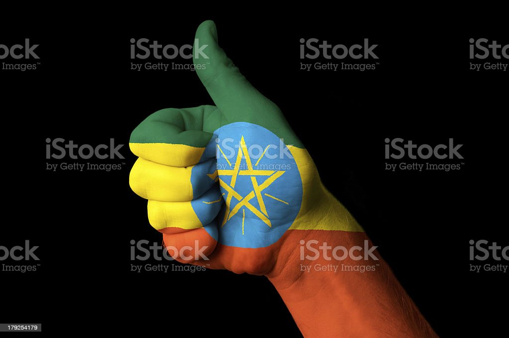 ethiopia national flag thumb up gesture for excellence royalty-free stock photo