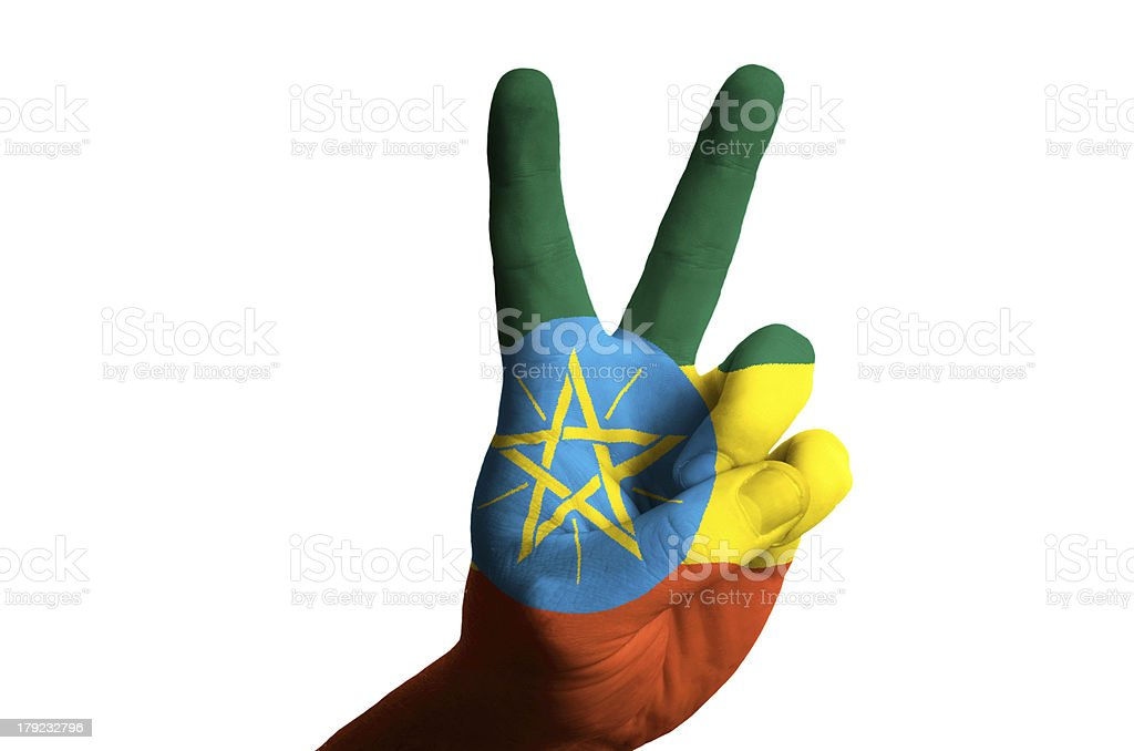 ethiopia national flag two finger up gesture for victory royalty-free stock photo