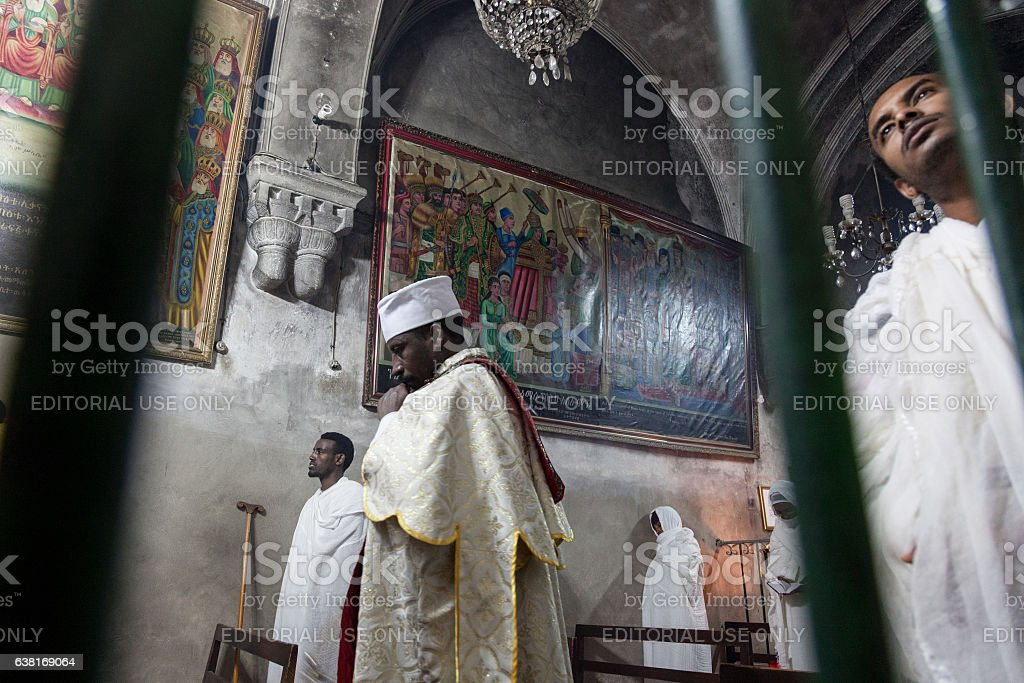 Ethiopiam monks in Holy Sepulchre Church stock photo