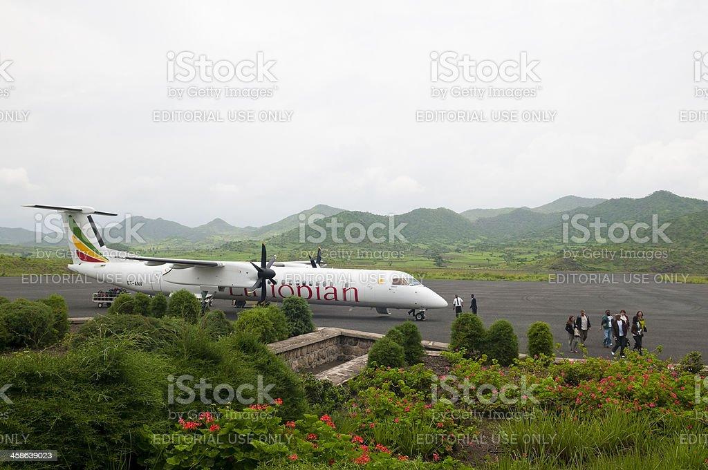Ethiopian Airlines at Lalibela airport stock photo