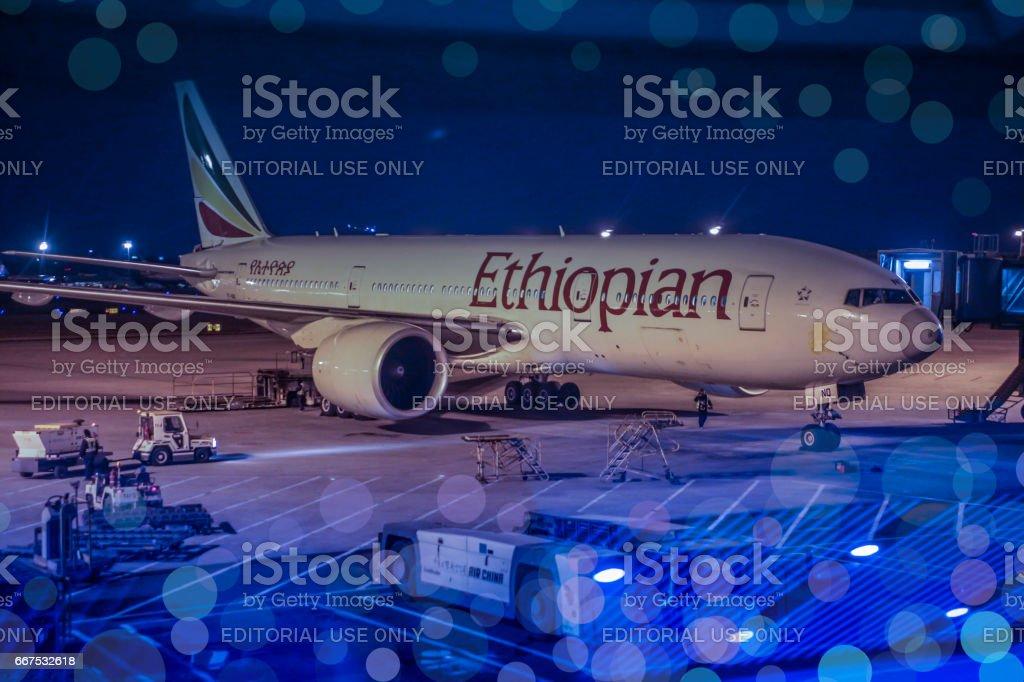 Ethiopian Airlines plane at Beijing Capital International Airport stock photo