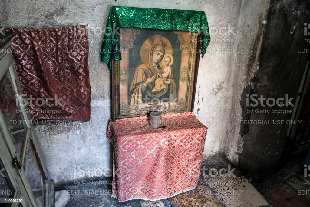 Ethiopian Chapel in Holy Sepulchre stock photo