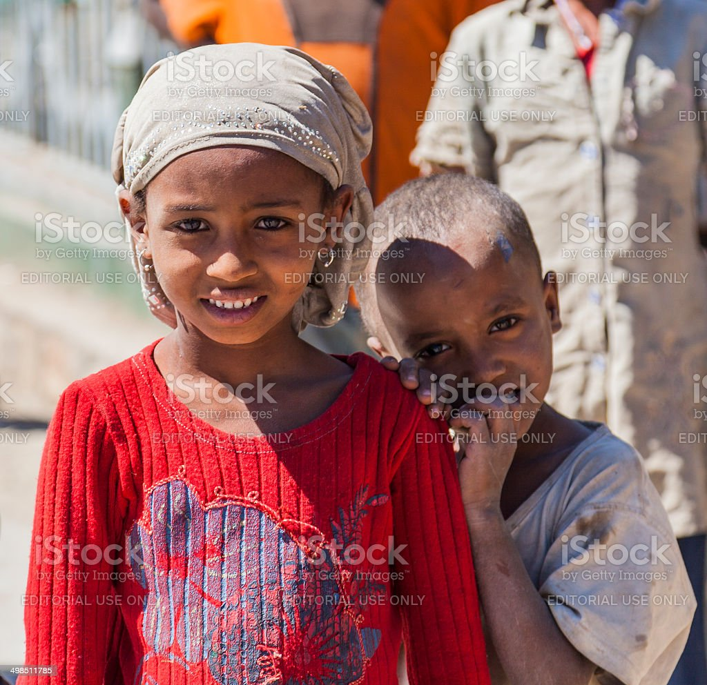 Ethiopian children. Hirna. Ethiopia. stock photo