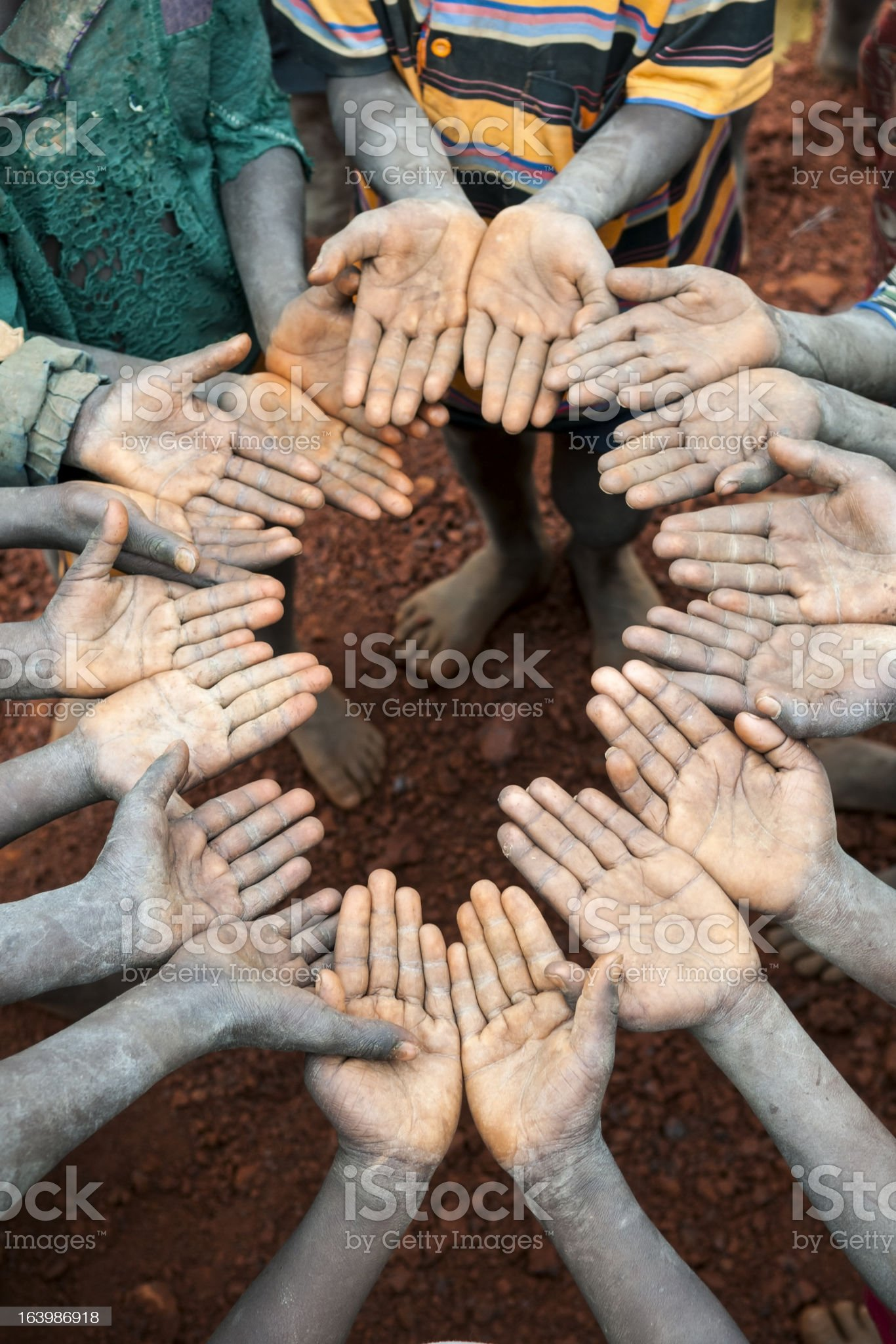 Ethiopian children with open hands royalty-free stock photo