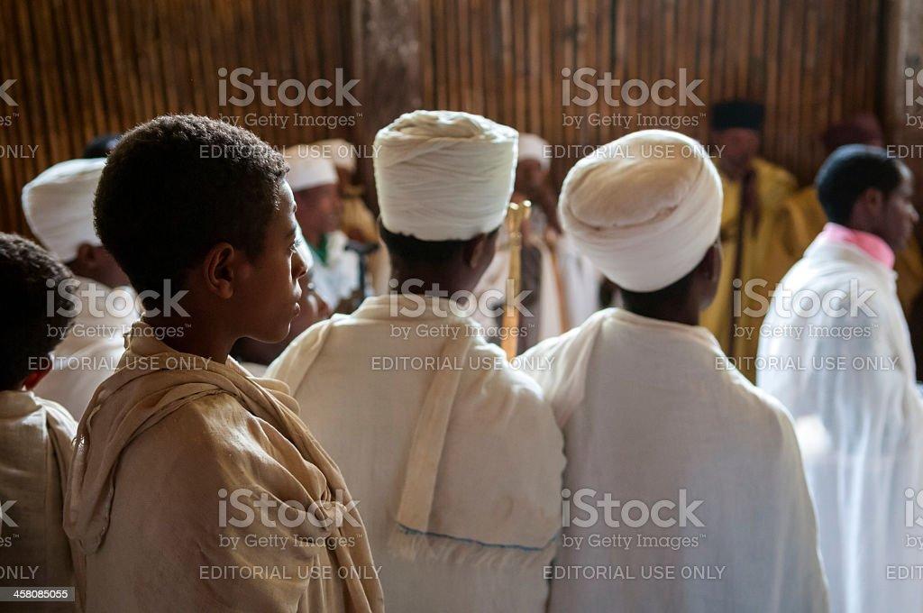 Ethiopian Christians at Ura Kidane Mere monastery church, Lake Tana stock photo