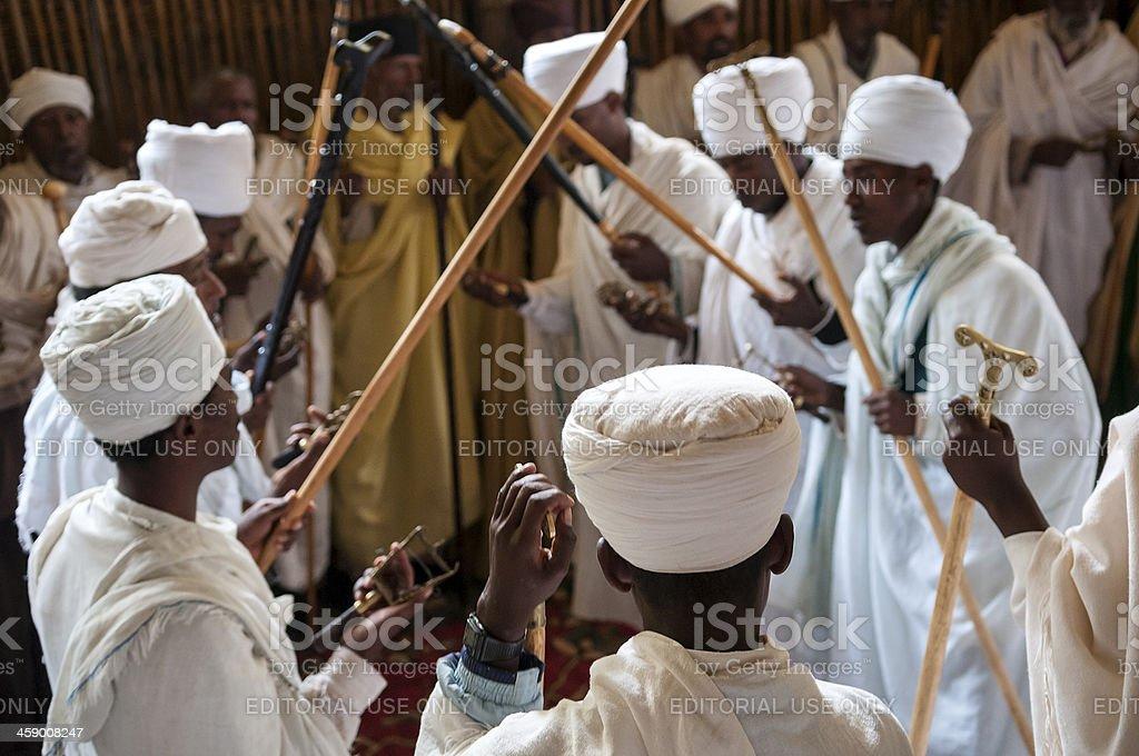 Ethiopian Christians at Ura Kidane Mere monastery church royalty-free stock photo