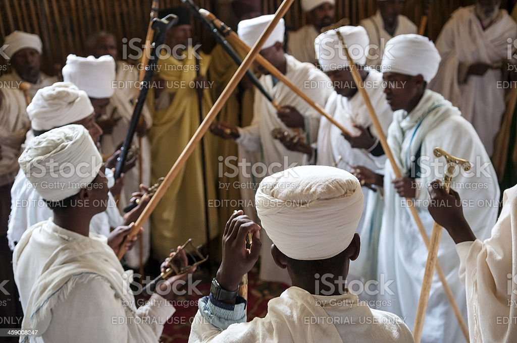 Ethiopian Christians at Ura Kidane Mere monastery church stock photo