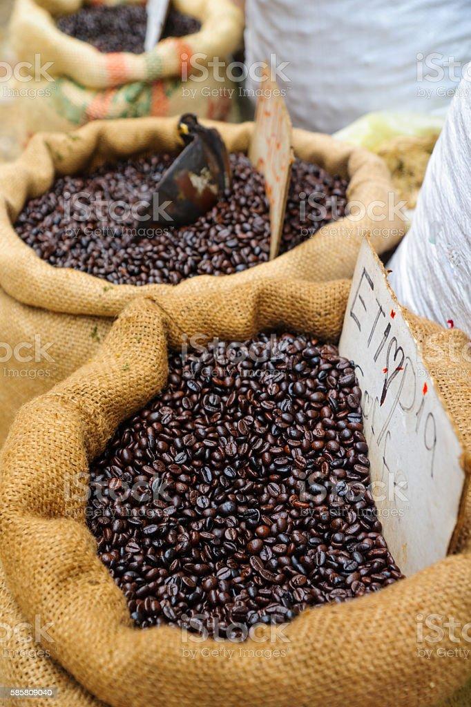 Ethiopian coffee beans stock photo