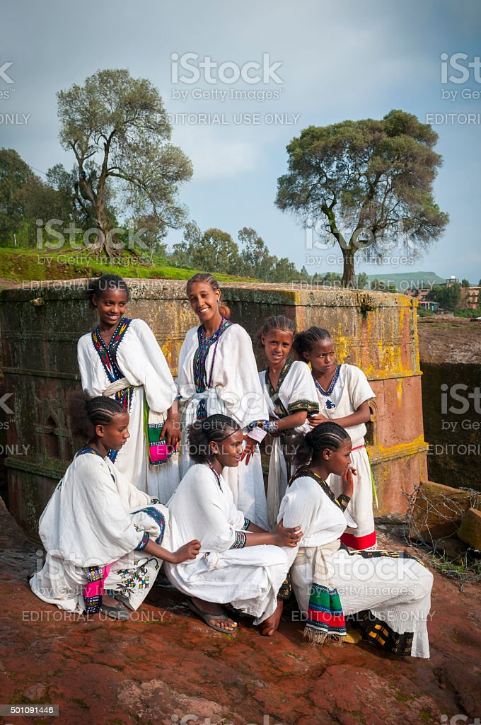 Ethiopian culture in Lalibela, Ethiopia stock photo