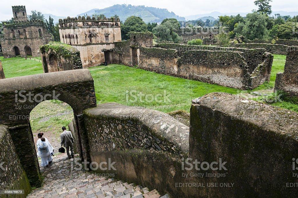 Ethiopian family at Fasilides Castle in Gondar stock photo