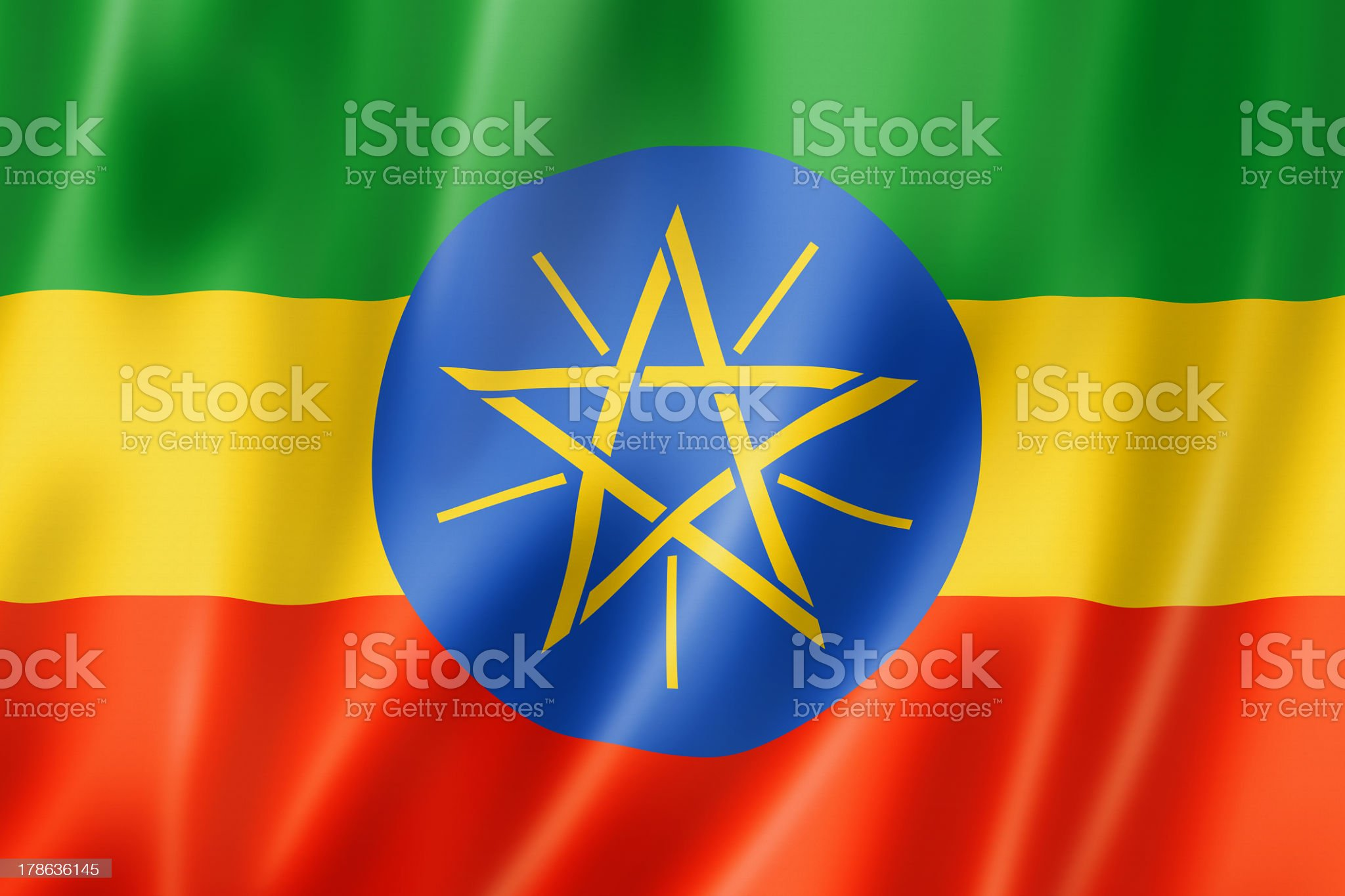 Ethiopian flag royalty-free stock photo