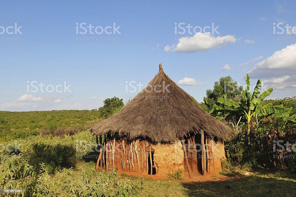 Ethiopian hut belonging to Banna tribe near Key Afar, Ethiopia stock photo