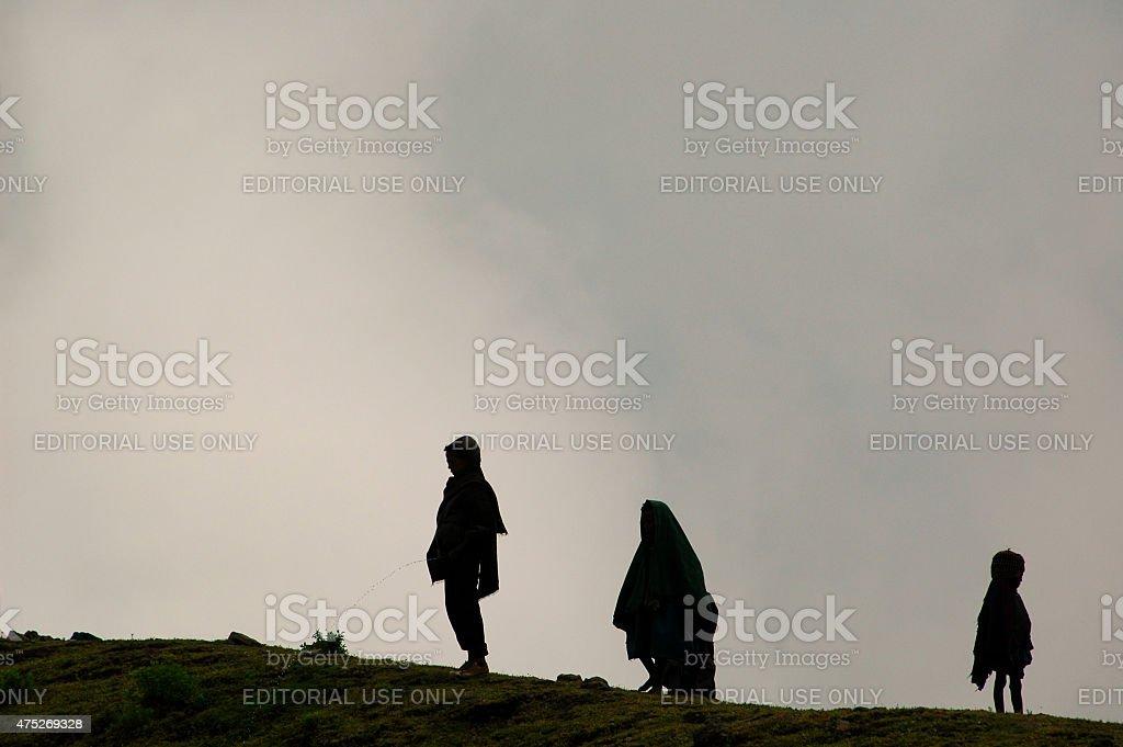 Ethiopian Nomads Kids Silhouette. stock photo