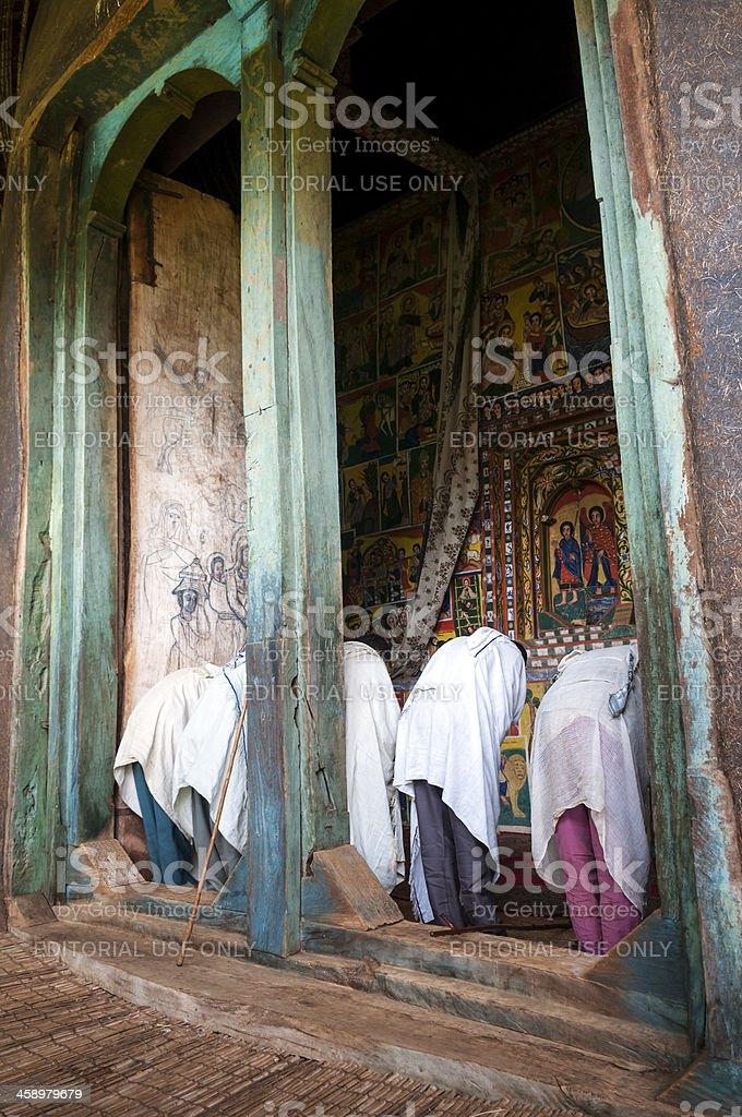 Christians praying in Ethiopia stock photo