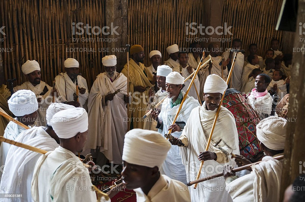 Ethiopian Orthodox Christians in church royalty-free stock photo