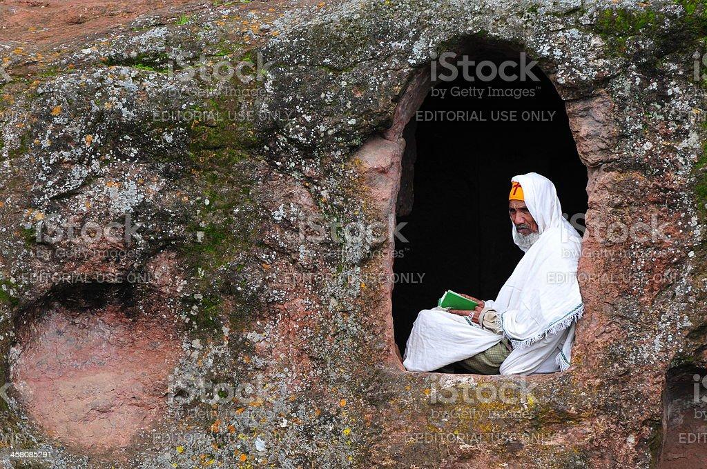 Ethiopian Orthodox monk in window royalty-free stock photo