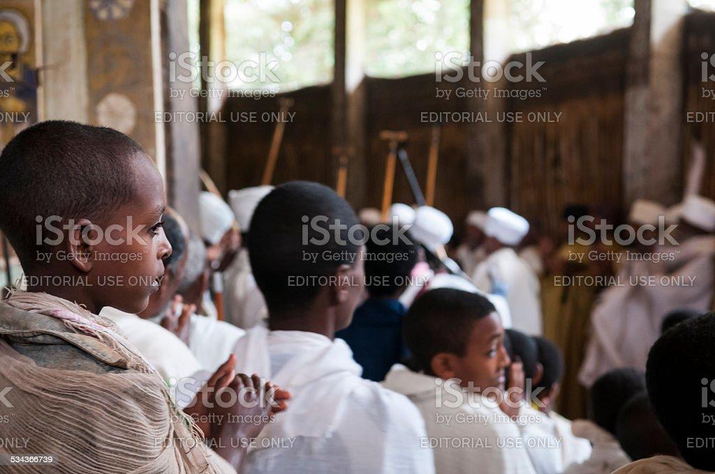 Ethiopian Orthodox worship at Lake Tana stock photo