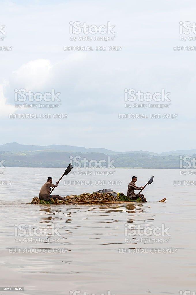 Ethiopian paddling raft on Lake Tana stock photo