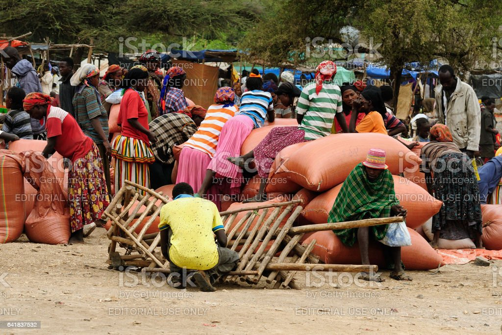 Ethiopian people being a market trader in the Konso stock photo