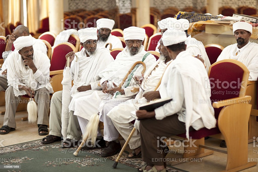 Ethiopian Rabbis are at Synagogue. stock photo