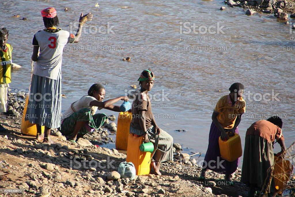 Ethiopian river scene stock photo