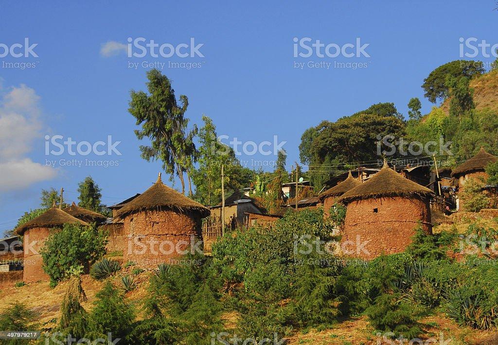 Ethiopian traditional huts, Lalibela stock photo