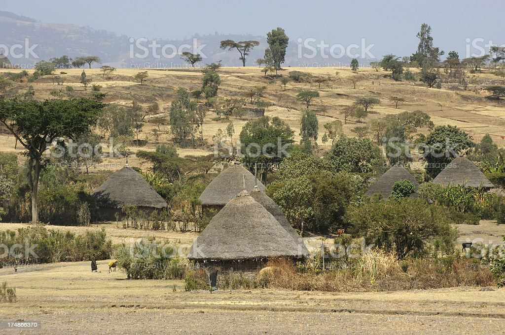 Ethiopian traditional huts village stock photo