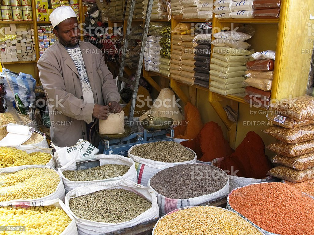 Ethiopian Vendor Selling Spices stock photo