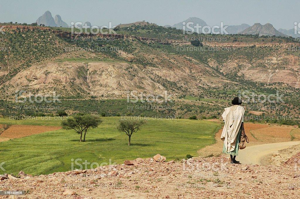 Ethiopian woman in Folk costume. Mountain green landscape. stock photo