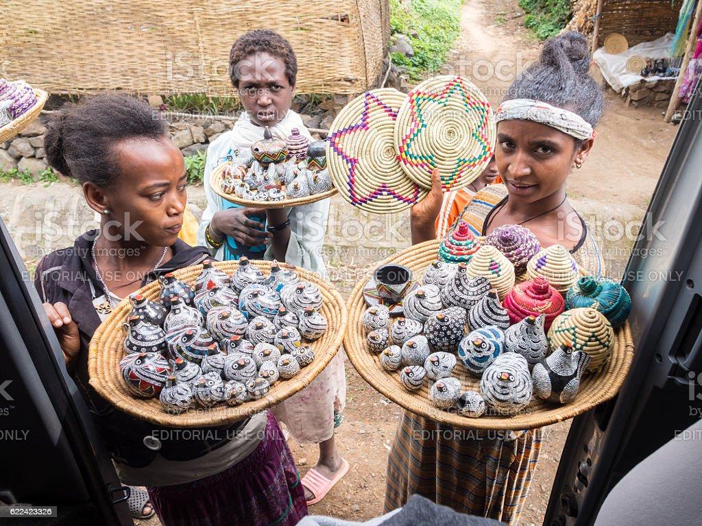 Ethiopian women selling souvenirs stock photo