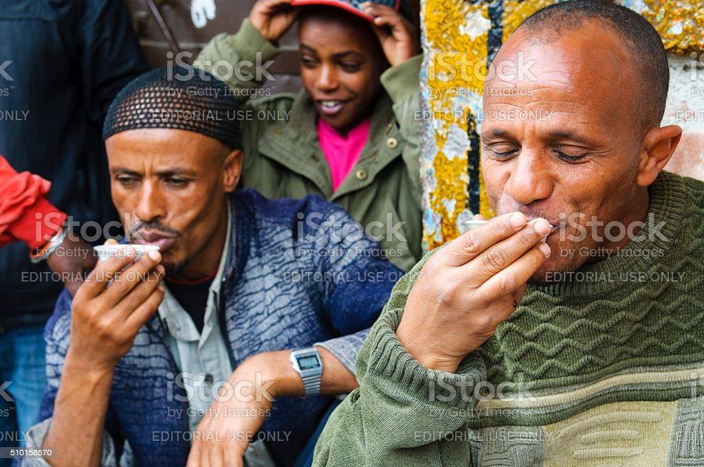 Ethiopians drinking coffee in Addis Ababa, Ethiopia stock photo