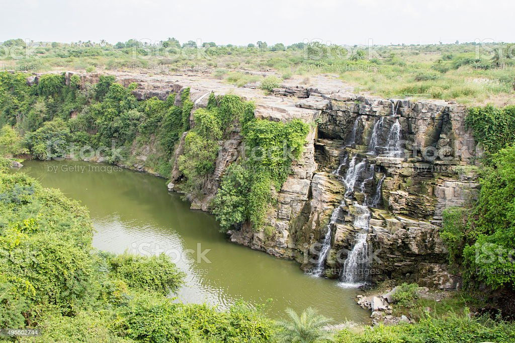 Ethipothala waterfall, Telangana, India stock photo