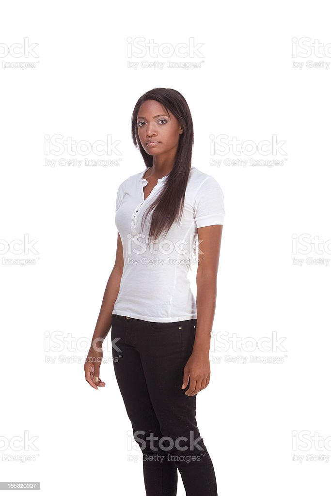 Ethnic black young woman in jeans and white t-shirt royalty-free stock photo