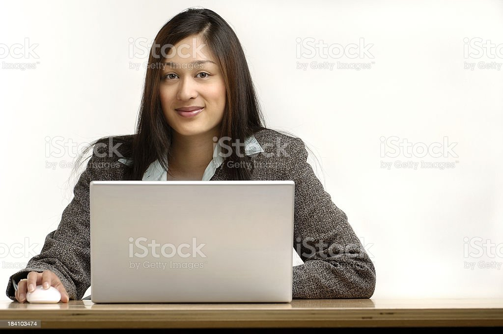 Ethnic business woman on white background royalty-free stock photo