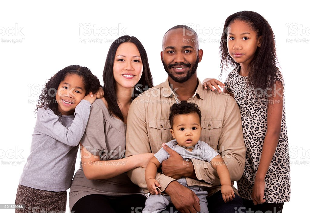ethnic casual family stock photo