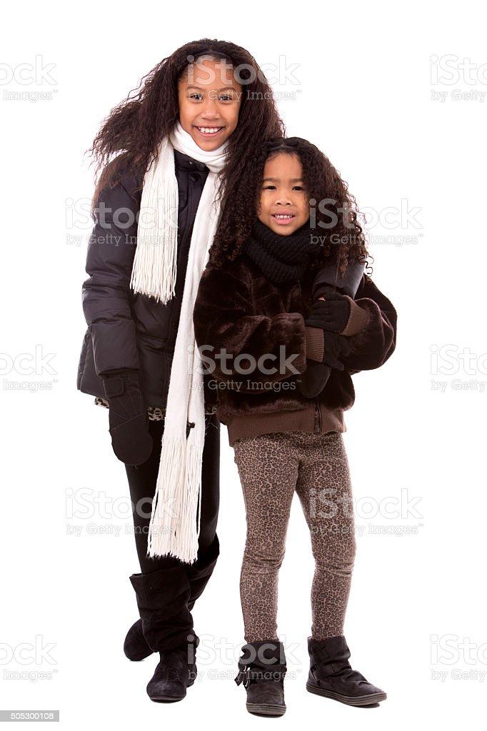 ethnic casual siblings stock photo