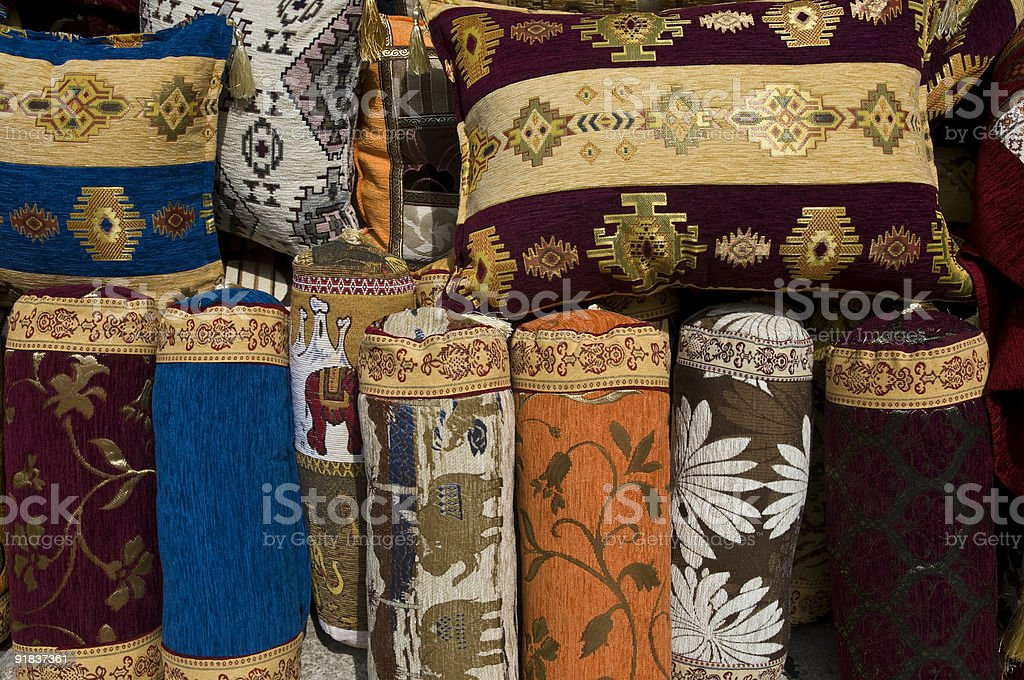 Ethnic Colorful Pillows stock photo