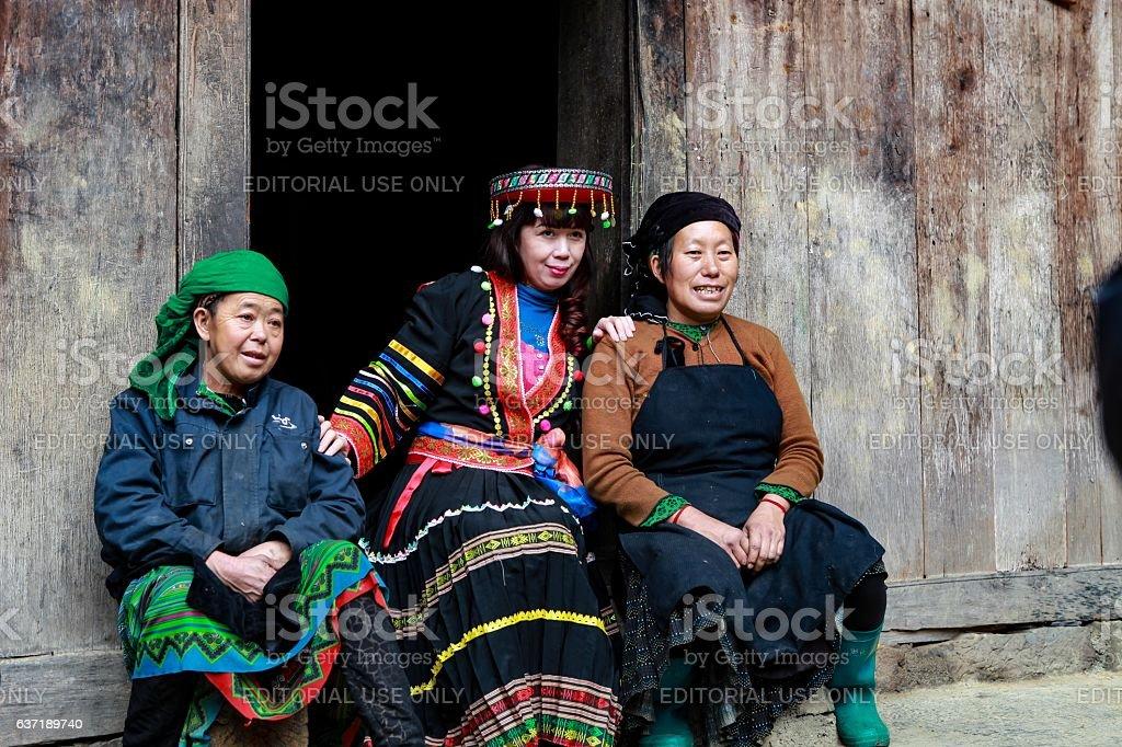 Ethnic Hmong in Ha Giang, Vietnam stock photo