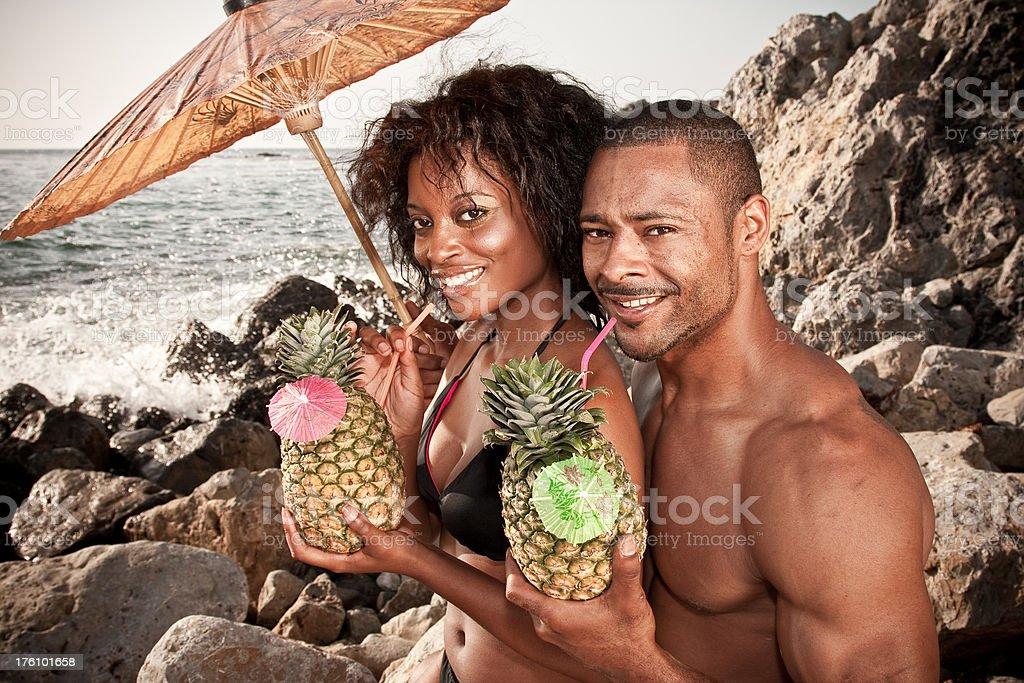 Ethnic Lovers Tropical Honeymoon Paradise royalty-free stock photo