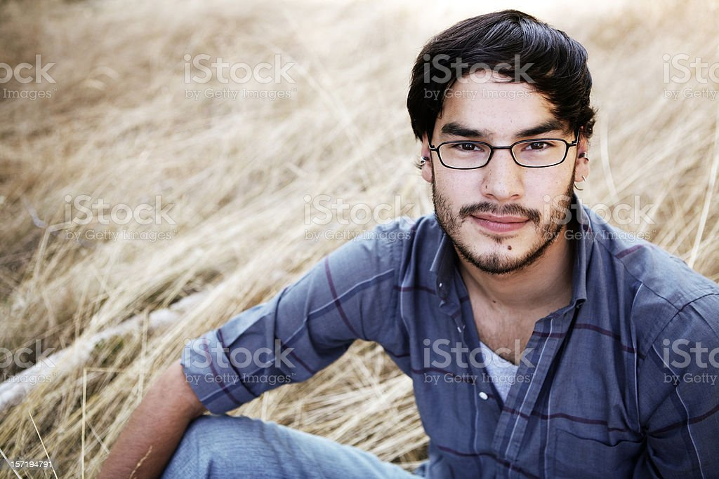 Ethnic Male Wearing Glasses and Outdoors royalty-free stock photo