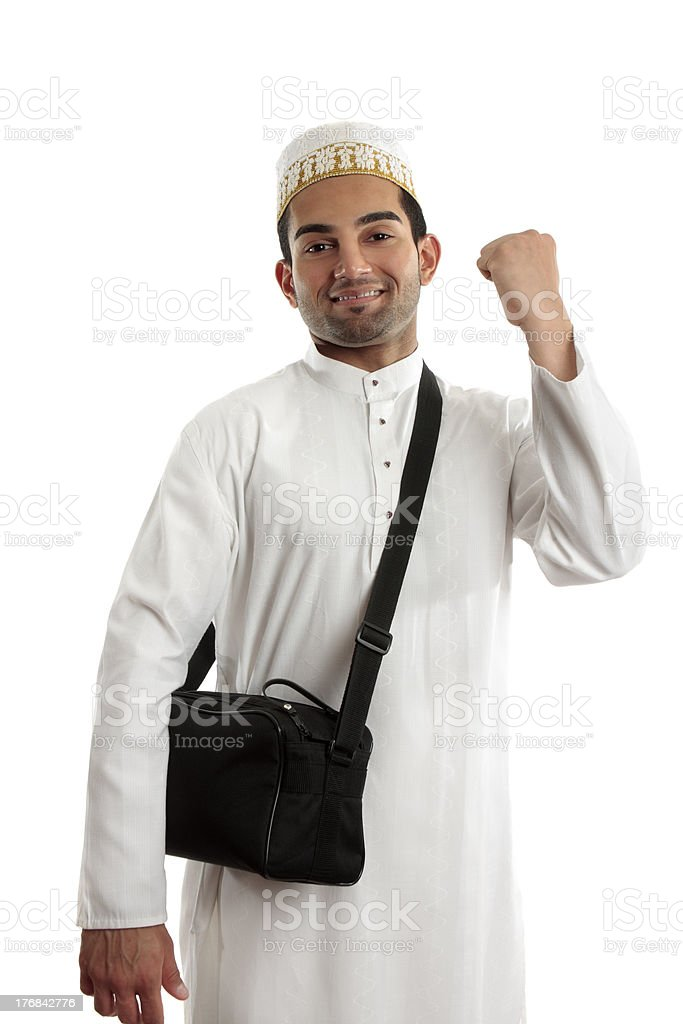 Ethnic man victory fist success stock photo