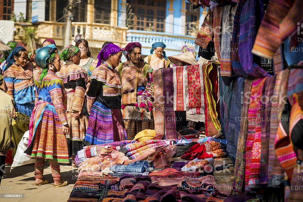 Ethnic Minority People at market, Vietnam royalty-free stock photo