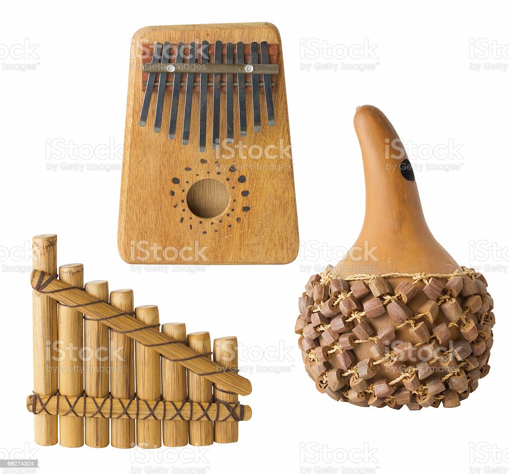 Ethnic Musical Instruments, Isolated royalty-free stock photo