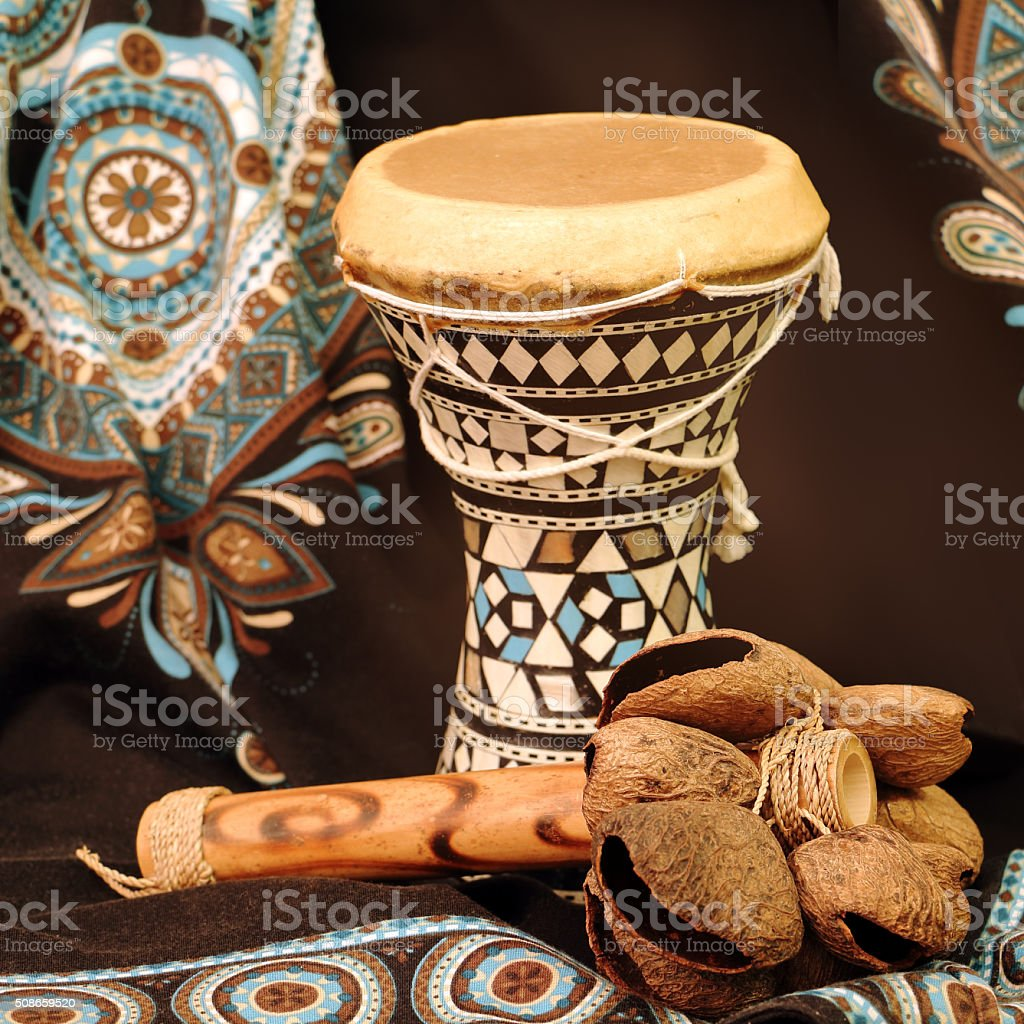 ethnic musical instruments stock photo