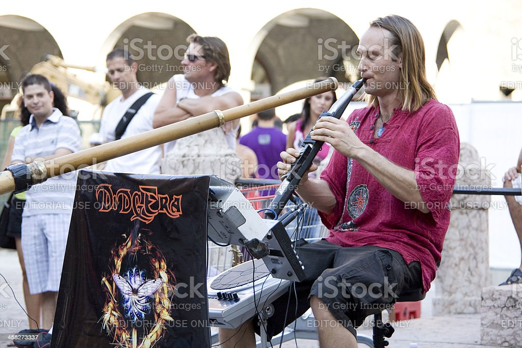 ethnic musician at Buskers in ferrara stock photo