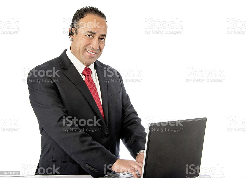 Ethnic Office Worker Isolated on White stock photo