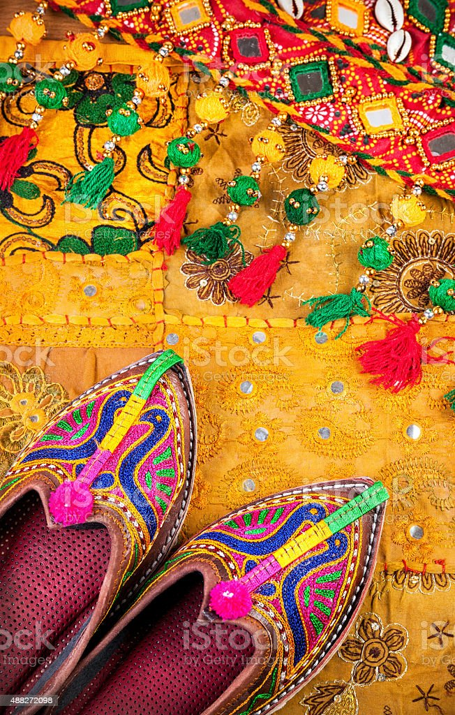 Ethnic Rajasthan shoes and belt stock photo