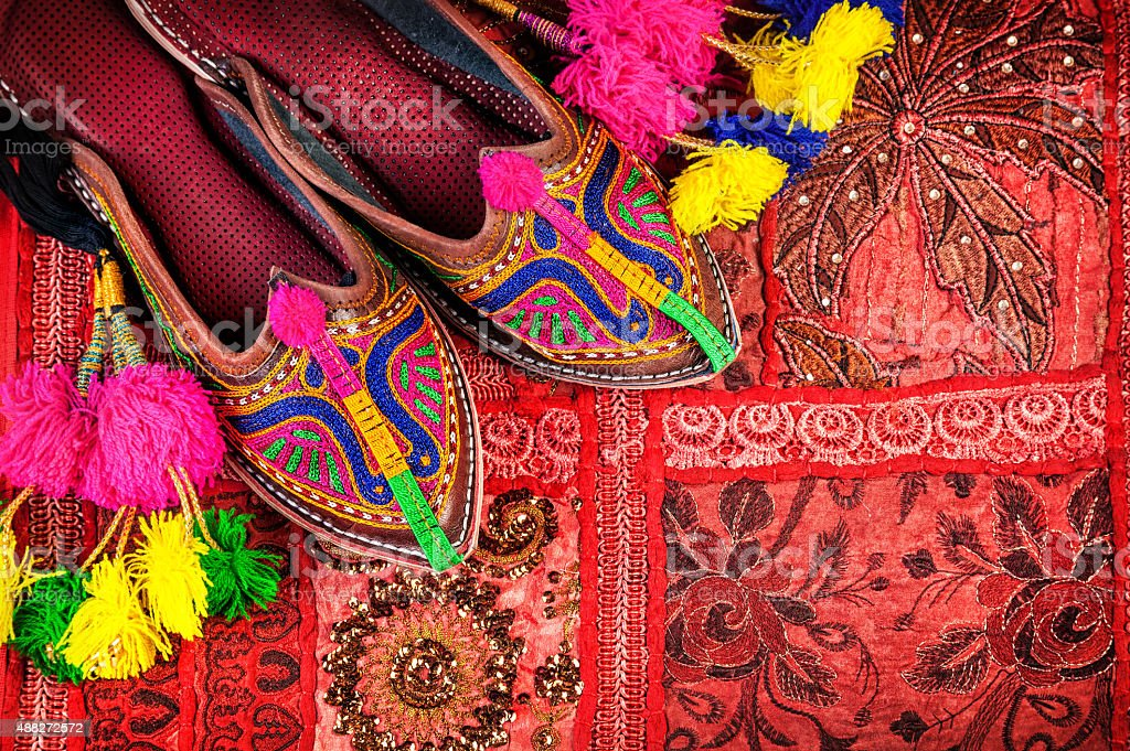 Ethnic Rajasthan shoes stock photo