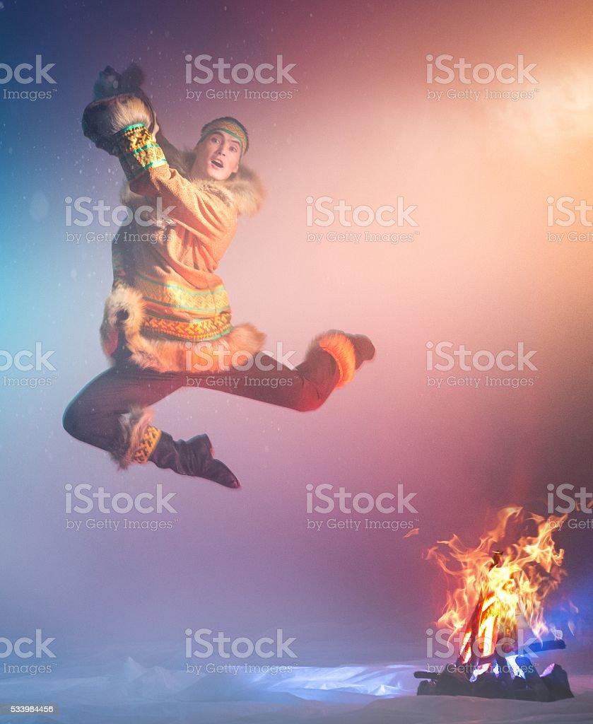 Ethnic Shamanic Dance stock photo