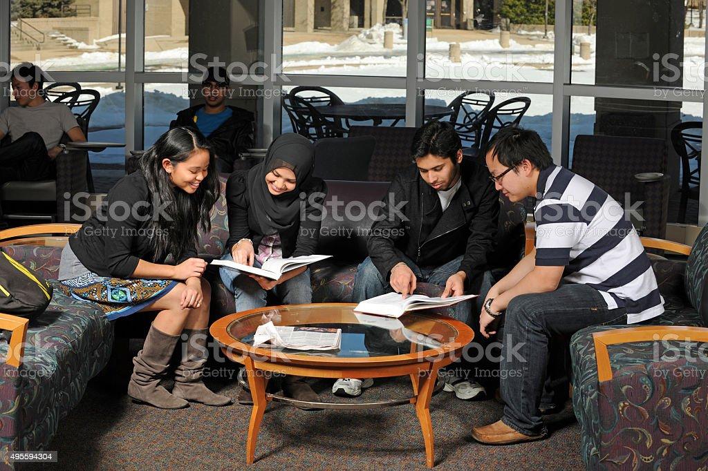 Ethnic Students Studying stock photo